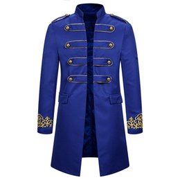 Wholesale victorian steampunk costume online – ideas Casual Steampunk Tailcoat Jacket Embroidery Vintage Trench Coat Men Gothic Victorian Uniform Long Coat Men Stage Costume Homme