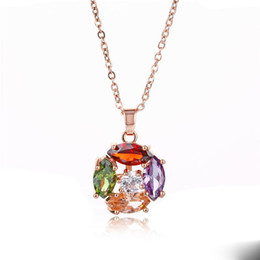 kc gold color UK - wholesale environmental protection copper plated KC gold necklace full diamond seven color zircon necklace