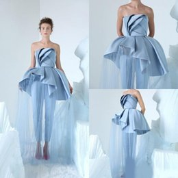 Women Fashion Jumpsuit Australia - 2019 Fashion Women Jumpsuits Evening Dresses Tulle Satin Ruffles Formal Prom Dress Custom Made Special Occasion Party Gowns