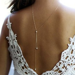 chains for dresses Australia - 2017 New Simulated Pearl Backdrop Necklaces Back Chain Jewelry For Women Party Wedding Backless Dress Accessories JJAL N846