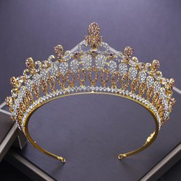 Crystal Heads Australia - NEW Luxurious European Golden Crystal Queen Tiara Baroque Rhinestone Big Crown Wedding Tiaras for Brides Head Decorations ML622 D19011102