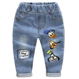 kids pants holes fashion Canada - Brand Kids Cartoon Trousers Pant Fashion Girls Jeans Children Boys Hole Jeans Kids Fashion Denim Pants Baby Jean Infant Clothing Y200409