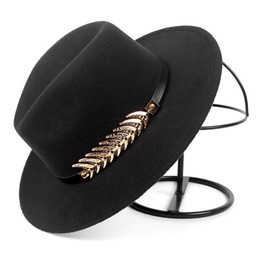 fallen hats Australia - Autumn Fashion Fall 2019 Winter Wide brim fedora Hat Women Men With Belt Jazz Cap Trilby Felt vintage hats chapeau feutre homme