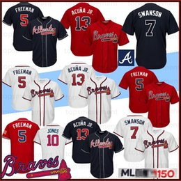 griffey jr jersey 2019 - 13 Ronald Acuna Jr. Men Baseball Jerseys Atlanta 5 Freddie Freeman 10 Chipper Jones Braves 150th Anniversary 44 Hank Aar