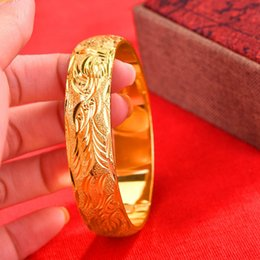 solid 18k bangles NZ - Thick Dubai Bangle 18K Yellow Gold Filled Wedding Womens Phoenix Carved Fashion Bracelet Solid Jewelry Gift