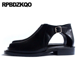 $enCountryForm.capitalKeyWord Canada - Breathable Hollow Out Shoes Men Summer European Big Size Real Leather Peep Toe Brand Sandals British Style Black High Top Runway
