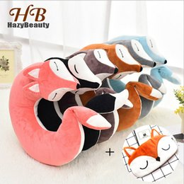 animal travel pillows NZ - HazyBeauty Lovely Fox Animal Cotton Plush U Shape Neck Pillow Travel Car Home Pillow Nap Pillow Health Care with Eye Mask