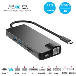 $enCountryForm.capitalKeyWord Australia - 8 In 1 Type C to 2 USB3.0 SD TF Card Reader LAN VGA HDMI USB C Adapter HUB Extend PD Charger Dock 1000Mbps RJ45 OTG Display for Macbook PC
