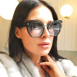 sunglasses sizes Australia - Wholesale-New Fashion Brand Designer Cat Eye Sunglasses For Women Tom Sun Glasses Big Size Cateye Vintage Oversize Female Gradient Points