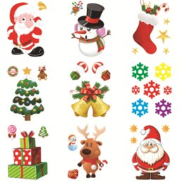 Christmas Window Stickers For Shops NZ - New Shop Window Refrigerator Snowman Santa Claus SnowFlake Gifts Christmas Tree Wall Sticker Decorations For Home Stickers