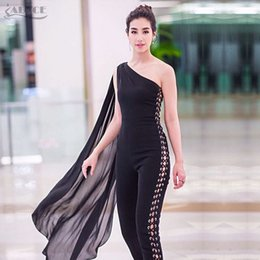 4bae0da42a ADYCE 2018 Summer Women Celebrity Runway Jumpsuits One Shoulder Hollow Out Black  Batwing Sleeve Romper Sexy Bodycon Jumpsuits