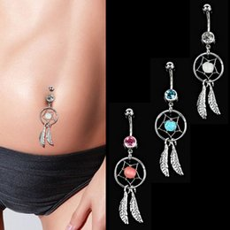 Gold Belly Dance Chains Australia - Sexy Stainless Steel Round Dangle Navel Belly Button Rings Belly Navel Piercing Belly Dance Bars Body Piercing Jewelry 3 Colors