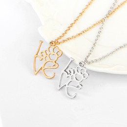 Wholesale dog american resale online - Heart Letter Pendant Necklaces Silver Gold Color I Love You Dog Claw Charm Necklace Jewelry for Couples Women Girls Gift Newest Trend Design