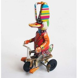 $enCountryForm.capitalKeyWord Australia - Funny Duck Riding Bicycle Model Vintage Clockwork Toys,Wind Up Toy Collectible Tin Toys for Children Gift SH190913