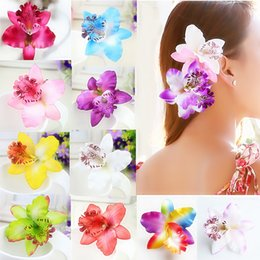 hair flowers clips orchid UK - 1PC New Gift Sand beach Women Chic Fashion Flowers Hair Clips Hot 18 Colors Handmade Butterfly Orchid Fake