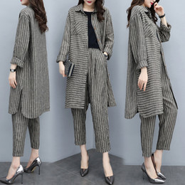 Old Fashioned Suits Australia - Big Size Striped Women Two Piece Outfits Fashion Year-old Female Costume Conjunto Feminino Ensemble Femme Survetement Woman Suit