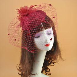 $enCountryForm.capitalKeyWord Australia - Mesh Flower Woolen Fascinator Hat with Netted Dots for Wedding Brides Ladies London Hair Accessories Vintage Handmade Hair Clips with Flowe