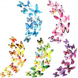 classroom decor 2019 - 12Pcs 3D Butterfly Wall Sticker Removable DIY Art Decor Crafts Magnets and Glue Sticker For Nursery Classroom Offices We