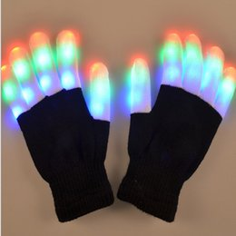 black glow gloves NZ - Glowing Gloves Dancing Hip Hop Various Fiber Optic Sequin LED Gloves A piar