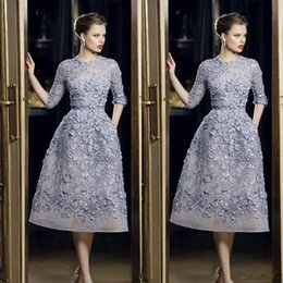 elie saab tulle dresses Canada - Elie Saab Evening Dresses Elegant Lace Applique A-Line Prom Gowns 3 4 Long Sleeve Tea Length Sexy Formal Party Celebrity Dress Customized
