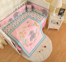 Cotton Cot Bumpers Australia - New arrival 7Pcs Baby girl bed linens cotton Cot bedding set Crib bumper set Flowers bloom Elephant Crib bed set Quilt Bumper skirt