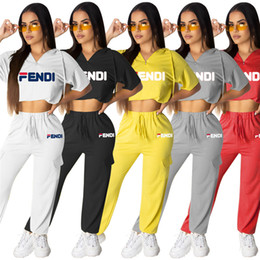 $enCountryForm.capitalKeyWord Australia - Women designer brand 2 piece set gym hooded t-shirt pants leggings short sleeve crop top hoodies print letter summer clothing plus size 602