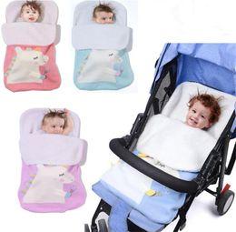 $enCountryForm.capitalKeyWord UK - Baby Knitted unicorn Sleeping Bags Newborn Stroller sleeping bag Toddler autumn Winter Wraps Swaddling 4 colors infant bed sheet B11