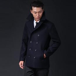 307244fdb92 Casual short woolen coat men trench coats long sleeves overcoat mens  cashmere coat casaco masculino inverno erkek england blue