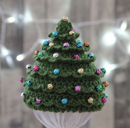 crochet hats for infants 2020 - Christmas Tree Model Women's Beanie Hat Fashion Winter Infant Christmas Crochet Knit Stars Hat Hairball Cap Ornamen