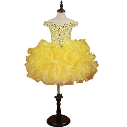 Cheap Cupcakes Australia - Stunning Yellow Girls Pageant Dresses 2019 Toddle Cupcake Ruffles Crystal Bling Rhinestones Organza Off shoulder Flower Girls Dress Cheap