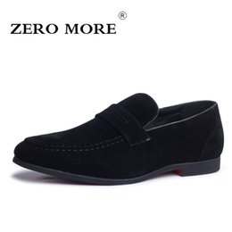 faux shoes men NZ - wholesale MORE Mens Shoes Casual Large Sizes Hot Sale Loafers Slip On Moccasin Solid Faux Suede Shoes Black Soft Men Shoes 2019 Red