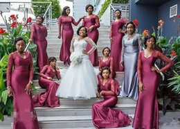 Bridesmaid dresses draped sleeves online shopping - 2019 South African Mermaid Bridesmaids Dresses Lace Long Sleeves Long Formal Maid of Honor gowns Purple Wedding Guest Party Gowns