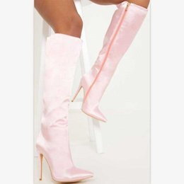 Discount stylish lady shoes heel - Fetish High Heels Knee High Women Boots Stylish Smooth Sation Ladies Long Straight Boots Autumn Winter Pink Black Sexy S