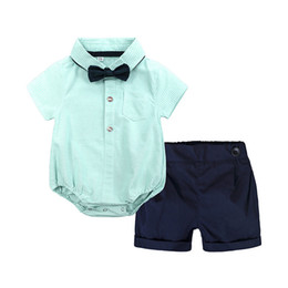 55e489d141e Hot baby boy clothing romper sets turn down short sleeve stripped print  green romper + short cotton high quality boy baby romper clothes