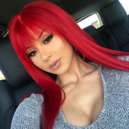 Discount full lace human hair red - Red Human Hair Full Lace Wig With Bangs For Black Women Virgin Peruvian Glueless Colored Red Lace Front Wigs Pre Plucked