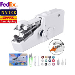 Wholesale korean sewing machine resale online - US Stock Mini Portable Handheld Electric Sewing Machines Stitch Sew Needlework Cordless Clothes Fabrics Sets FY7066