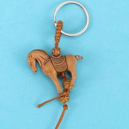 $enCountryForm.capitalKeyWord Australia - 2pcs Classic Lucky Elephant Horse Carving Wooden Pendant Keychain Key Ring Evil Defends Gift Presents Holder Decoration