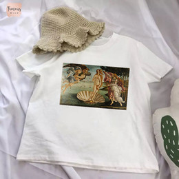 Oil paintings girls online shopping - T Shirt Personality Fashion Harajuku Painting Angel Girl Print Top Summer Casual Chic Fashion Oil Loose Ulzzang Female