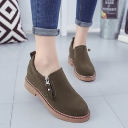 shoes zipper side NZ - Attractive2019 Circle Autumn Summer Head Coarse Women's Shoes All-match Side Zipper Low With Within Increase Dawdler Single Shoe