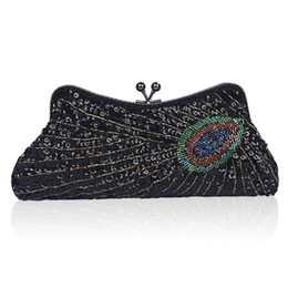 7f3ee49ffdee7 Peacock Feather Embroidery UK - Sale new European and American fashion  ladies dinner bag peacock ring