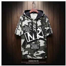 $enCountryForm.capitalKeyWord Australia - 2019 summer men's hoodie short-sleeved T-shirt outerwear teen camouflage hoodie loose T-shirt