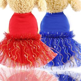small dog tutu Australia - Pet Dog Dresses Summer Mesh Vest skirt for Puppy Small Medium Dogs Cats Breathable Red Blue Gauze wedding TUTU Dress For Teddy Chihuahua Pug