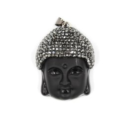 Crystal Carved buddha pendant online shopping - JLN Buddha Head Rhinestone Pendant Imitation Black Carving Obsidian Glass Crystal Pendant With Leather Chain Necklace
