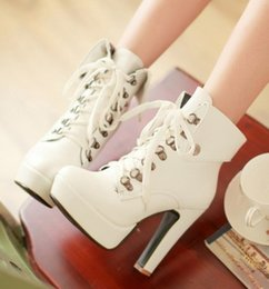 white stiletto snow boots NZ - New Arrival Hot Sale Specials Super College Fashion Cowgirl Nightclub Stiletto Lace Up Martin Leather Short Tube Heels Ankle Boots EU34-39