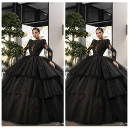 $enCountryForm.capitalKeyWord Australia - Black Long Sleeves Tulle Lace Appliques Ball Gown Quinceanera Dresses Tulle Tiered Formal Long Vestidos De Special Occasion Prom Party Gown