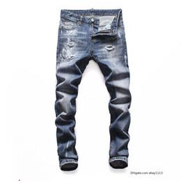 Wholesale white rock revival jeans mens for sale – denim mens luxury designer jeans denim black ripped pants the best version DSN16 Italy brand bike motorcycle rock revival new