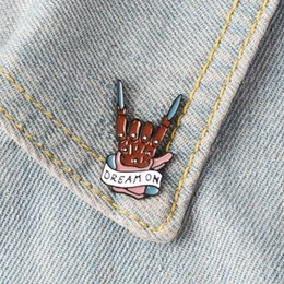 Rock bRooch online shopping - DREAM ON Enamel Pins Badge Brooches Rock Band Lapel pin Denim Shirt Collar Punk Cool Music Fashion Inspirational Jewelry Gift