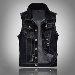 Wholesale black hole vests for sale - Group buy Mens Fashion Lapel Neck Jacket Vest Single Breasted Hole Solid Color Male Fashion Slim Vest S XL