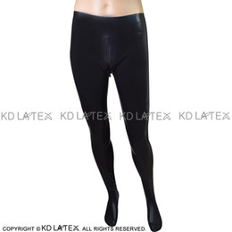 a6eadb071fe264 Black Sexy Latex Leggings With Crotch Zipper Feet Socks Rubber Pants Jeans  Trousers Bottoms 0026