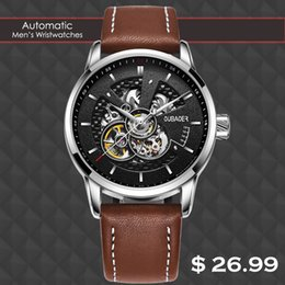 Discount top skeleton watches for men - Luxury Fashion Automatic Mechanical Leather Male Watch New Arrival Top Brand Business Sport Waterproof Skeleton Watches